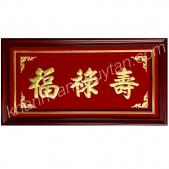 Tranh chữ Phúc Lộc Thọ tiếng Hoa - Khánh vàng