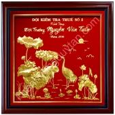 Tranh hạc và hoa sen vàng 24k Quà tặng cao cấp