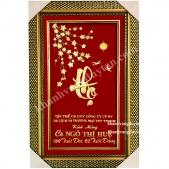 Khánh vàng chữ Thọ thư pháp - Cành mai